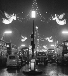We went up to London to see the lights and visit Father Christmas in about 1956 Christmas lights on Regent Street in December 1960