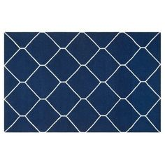 Check out this item at One Kings Lane! 6'x9' Lana Dhurrie, Navy/Ivory