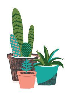 Cactus plants series 1 by Zoe Wodarz Gravure Illustration, Illustration Blume, Pattern Illustration, Graphic Illustration, Wolf Illustration, Cactus Art, Cactus Decor, Cactus Y Suculentas, Cacti And Succulents