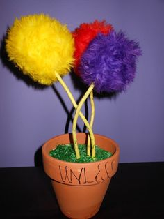 Dr. Seuss Nursery - DIY Truffula Trees from the Lorax.  These turned out so cute!