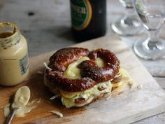 Bratwurst, Sauerkraut, and Muenster Grilled Cheese on Soft Pretzel