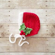 Crochet Baby Holly Bonnet Hat Beanie Christmas Holiday Baby Infant Newborn…
