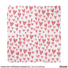watercolor red hearts romantic love pattern