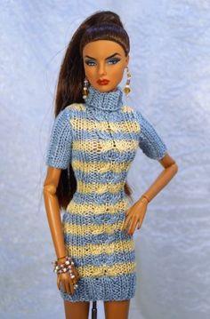 "OOAK outfit: dress jewelry for FR2 Poppy Parker Barbie & similar 12"" dolls"