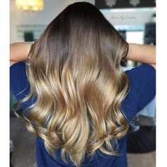 Oh So Shiny Medium-Chestnut-Brown Hair with Butterscotch-Blonde Balayage