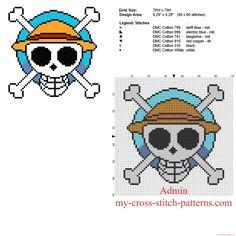 One Piece manga cartoon logo free cross stitch pattern size 60 x 60 stitches