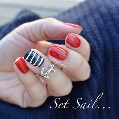 Red and Navy Blue Nautical Nails