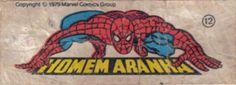 Homem Aranha - Essa é uma coleção de 36 figurinhas dos Super-Heróis da Marvel, do chiclete Ping-Pong, lançadas em 1979, as quais colecionei todas e colei na cômoda do quarto, como todo mundo fez.