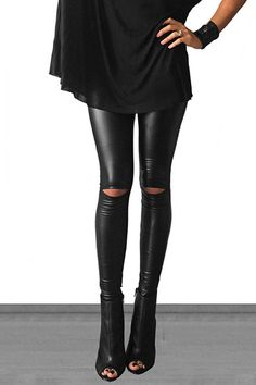 These high waisted cutout faux leather leggings will go perfectly with all your new tunics this season! These leggings are so soft with a high waistband and have great stretch to them. Fabric: 92% POL