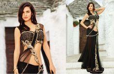 Beautiful Saree Collection Lehenga Style Saree, Party Wear Lehenga, Anarkali, Lehenga Choli, Gold Lehenga, Bridal Lehenga, Saree Wedding, Saree Blouse, Indian Bridal Wear