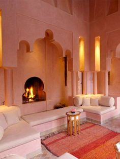 Inspiring Moroccan Living Room Designs : Catching Light Pink Jena Maison  Moroccan Style Living Room Design With Small Unique Fireplace And Mini  Octagonal ... Part 27
