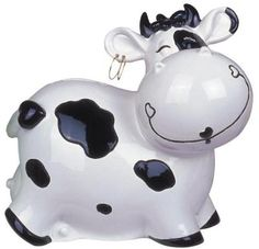 Cow Bank with Spots and Loop Earrings