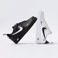 """b04960b1c593  everysize on Instagram  """" nike Air Force 1 07 LV8 Utility Black and White  ⚫ ⚪ • They will be gone soon! Go get your new Air Force 1!"""