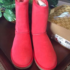 Brand New Coral Uggs Authentic Brand New Coral Color Uggs are absolutely beautiful! Rare and hard to find color! I bought from ugg store and have never worn them! No trades! Just looking to selltrades ..a must haves for these cold winter months!! UGG Shoes Ankle Boots & Booties