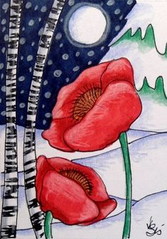 "Aceo  Original  ATC OOAK    ""WINTER POPPIES""   pencil/ink  #OutsiderArt"