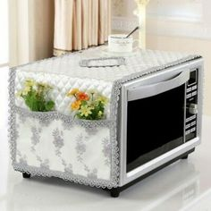 Online Shop Oil-proof dust-proof microwave oven cover flax cotton pastoral microwave cover with storage bag drop shipping Diy Home Crafts, Diy Crafts To Sell, Sewing Crafts, Diy Home Decor, Bed Cover Design, Designer Bed Sheets, Washing Machine Cover, Appliance Covers, Microwave Oven