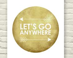 Lets Go Anywhere Honey gold brown Graphic print by JumpOffThePage, $15.00