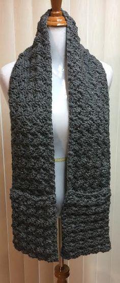 Crochet Scarf, Pocket Scarf, Scarf with Pockets, Crocheted Scarf, Crochet Pocket Scarf, Gray Scarf, Gray Crochet Scarf, Winter Scarf by CozyNCuteCrochet on Etsy