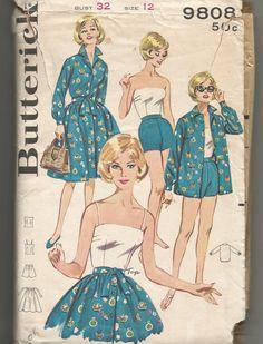 1960's  Butterick Sewing Pattern #9808 Misses' Sportswear Wardrobe Skirt Shirt  Shorts Top Bust 32 Size 12  - Cut by GwensHaberdashery on Etsy