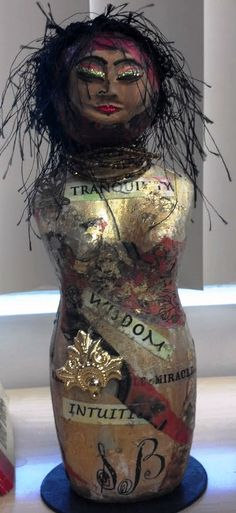 "mixed media art doll by Yoli Manzo  ""Our Lady of Wisdom"""