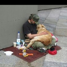 A man and one loyal dog.