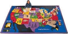 SCHOOLSin - The Discover America classroom rug from Carpets for Kids features a beautiful map of the USA. This school rug displays important state icons -- from Kentucky horses to Idaho potatoes. Map Rug, Carpets For Kids, Rugs Usa, Carpet Stains, Rugs On Carpet, Kids Learning, Geography, Kids Playing, How To Memorize Things