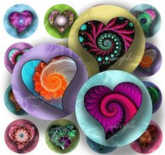 Magical Hearts Digital Collage 217 Sheet 1 inch by sweetcolours