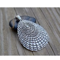 PEWTER SHELL|Mykonos Greek Casting Beads start with a lead-free base metal and finished in Pewter. This XL Fancy Shell pendant has dazzling detailing on the front and a brushed texture on the back. Available in green patina.    [$6.75]