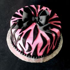 super cute pink zebra cake with black bow!!!
