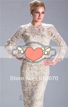 Wholesale New Sexy Scoop neck Lace With Appliques Long Sleeve Hnee Length Mother Of  Bride Dresses 2014  $89.00