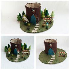 Blue Bird Nest Tree Stump Cottage Playscape Play Mat felt pretend open-ended storytelling fantasy storybook Dollhouse blue door garden toy by MyBigWorld2015 on Etsy