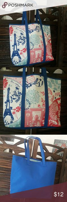 """NWOT Lancome Patchwork Paris Canvas Tote Brand Lancome Measurements 13"""" depth 17"""" width, 9"""" handle height, 3 1/2"""" x 17"""" bottom. Canvas outer, waterproof inner with patchwork Paris design on royal blue.  NWOT Great for the beach, shopping or a book bag. Lancome Bags Totes"""