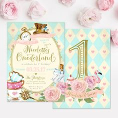 This adorable Alice in Wonderland (Onederland) Themed 1st birthday party invitation is perfect for a little girl turning one! It features whimsical lettering, and cute elements from the story line.