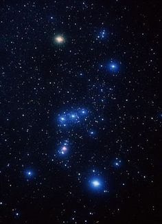The bright, pinkish-white star at upper left of Orion is Betelgeuse. A red supergiant, it is one of the largest and most luminous stars known. If it were at the center of our solar system, its surface would extend to the orbit of Jupiter and beyond, wholly engulfing Mercury, Venus, Earth and Mars. Betelgeuse is approximately 640 light-years away from Earth.