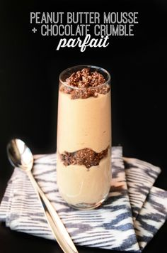Peanut Butter Mousse and Chocolate Crumble Parfait (vegan, gf)