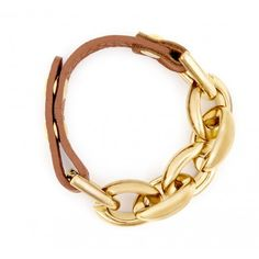 #Gold link #bracelet with adjustable #leather strap. -- Check the website to see how it can work with your outfit.
