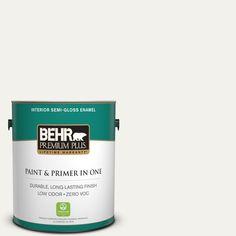 BEHR Premium Plus 1-gal. #W-F-600 Snow Fall Zero VOC Semi-Gloss Enamel Interior Paint