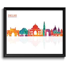 Delhi City Skyline Colorful Cityscape Poster by CityPrintsYourWay