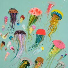 GreenBox Art 'GreenBox Floating Jellyfish' - Painting Print on Canvas Painting Frames, Art Paintings, Painting Prints, Original Paintings, Art Prints, Art Inspo, Painting Inspiration, Ocean Canvas, Canvas Wall Art