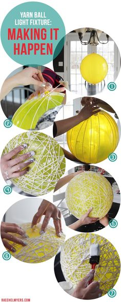 A DIY yarnball light fixture project. Instructions provided Upcycling - Crafts Diy Home Fun Crafts, Diy And Crafts, String Crafts, Light Crafts, Decor Crafts, Ball Lights, String Lights, Party Lights, Creation Deco