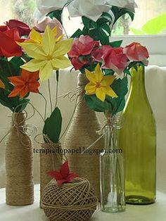 flores em origami e reciclagem de garrafas