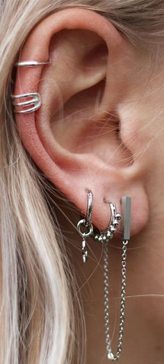 Unique Multiple Ear Piercing Ideas at MyBodiArt.com - Silver Double Cartilage Ring - Chain Earring