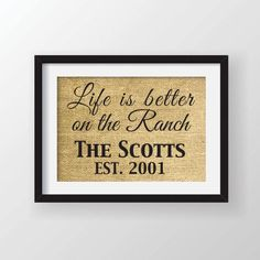 8 x 10 Life is Better on the Ranch Farm Burlap by Cloud9Craftss, $15.00