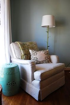 love the stool & lamp for Book Nook / Prayer Corner