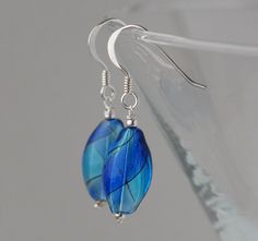 blown glass and silver earrings - light and dark blue bright version £10.00