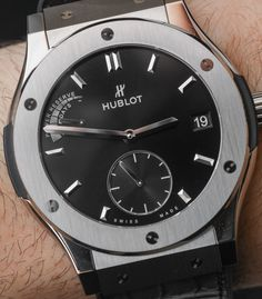 """Hublot Classic Fusion Power Reserve Titanium Watch Review - by Bilal Khan - See more of this thin, in-house Hublot now at: aBlogtoWatch.co - """"With the Hublot Classic Fusion Power Reserve Titanium watch, Hublot has created a thin, lightweight watch with the edge of its siblings and a new in-house manual-wind movement that lets you put the watch away to find it still running a week and a day later. It's sleek and thin, but this Classic Fusion maintains that aggressive Hublot look..."""""""