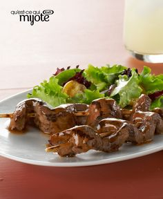 Turn a sirloin steak into an entrée for four with our Caramelized-Beef Skewers recipe. Glazed with a balsamic-Dijon barbecue sauce, these grilled sirloin steak skewers are perfect for summer entertaining or a weeknight barbecue. Beef Skewers, Kabobs, Best Bbq Recipes, Skewer Recipes, Bbq Pork, Barbecue, Sirloin Steaks, Grilled Pork, Asian