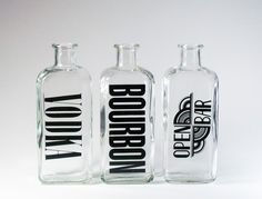Instant bar: Open bar, Vodka, and Bourbon glass bottles