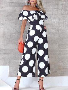 Flounce Trim Off Shoulder Dots Print Jumpsuit - Hosen Fashion Outfits, Womens Fashion, Fashion Tips, Fashion Design, Fashion Trends, Fashion Hacks, Ladies Fashion, Moda Outfits, Casual Jumpsuit