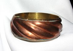 $24.50 - Vtg Copper Genuine  Brass Mixed Metal Bangle Handmade Bracelet India 2 Tone  #Bangle..... We are TOP RATED * POWER Sellers on EBAY * Selling WORLDWIDE. Visit us at our EBAY STORE * 4COOLSTUFF2BUY with any questions or items for sale.